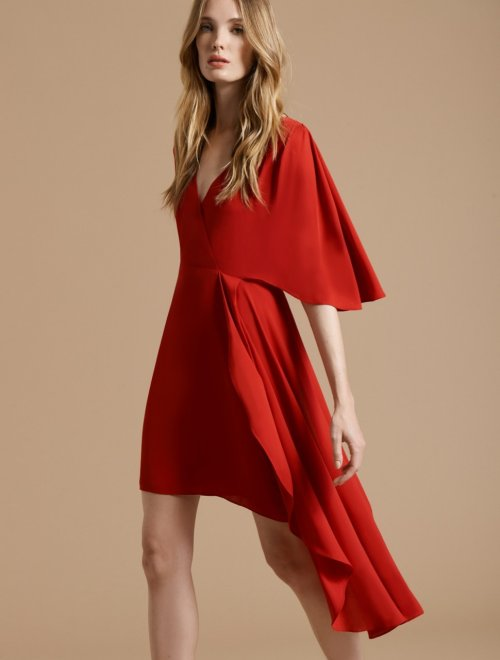 FLOWY SHORT SLEEVE FAUX WRAP DRESS