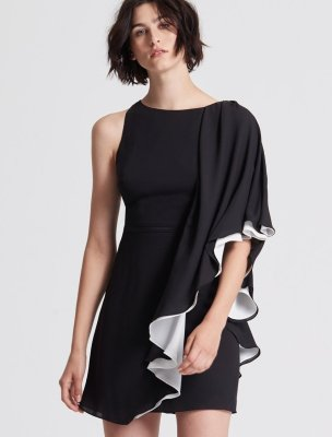 ASYMMETRIC COLOR BLOCKED FLOWY DRESS