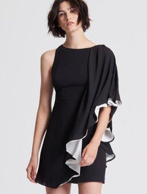 ASYMMETRIC COLOR BLOCKED FLOWY DRESS