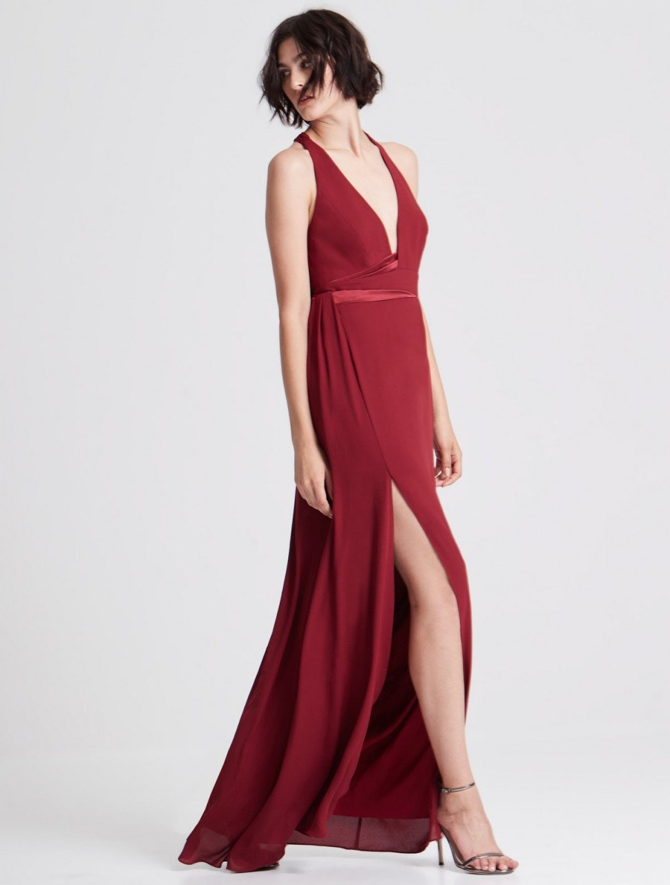GOWN WITH CONTRAST SATIN SASH