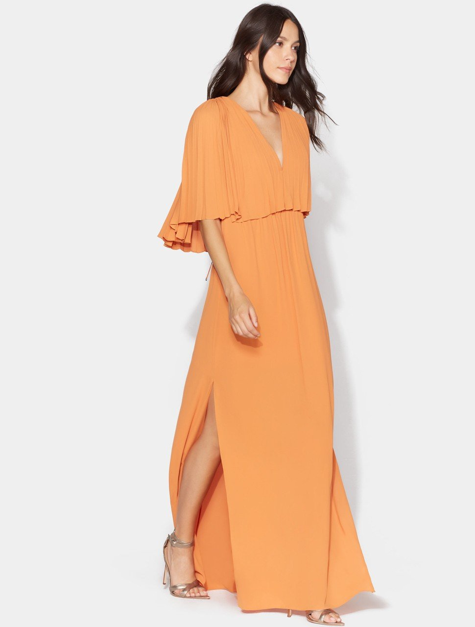 Flowy Pleated Sleeve V Neck Tie Back Gown