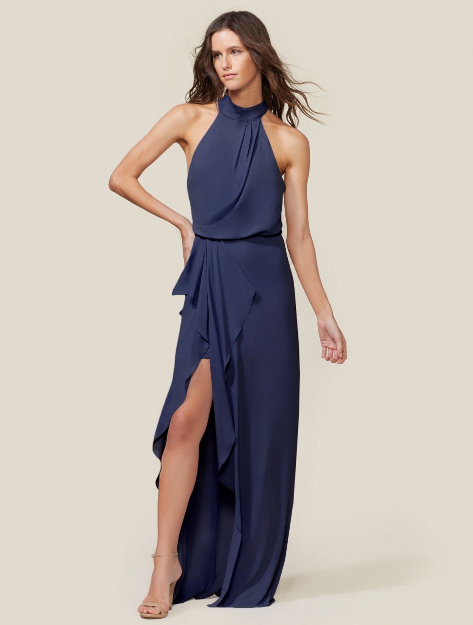 DRAPED MOCK NECK GOWN