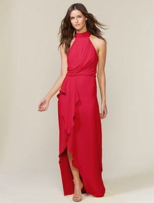 Sleeveless Mock Neck Gown with Drape Front Detail