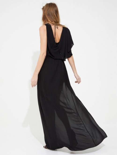 DRAPED SILKY GEORGETTE GOWN