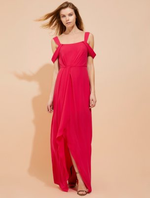 COLD SHOULDER DRAPED SILKY GEORGETTE GOWN