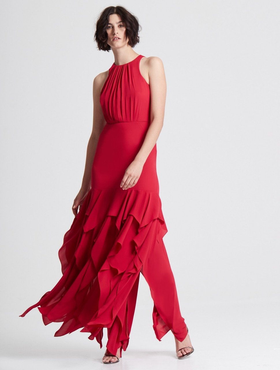 SLEEVELESS RUFFLE SKIRT SILKY GEORGETTE GOWN