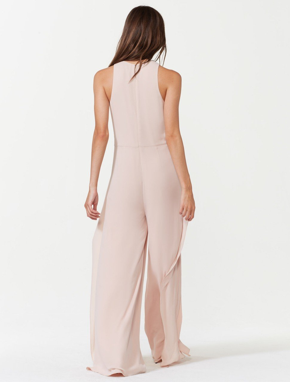 Sleeveless High Neck Flowy Drape Front Jumpsuit