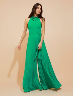 PLEATED FLOWY SILKY GEORGETTE JUMPSUIT