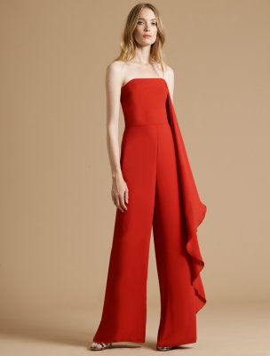 STRAPLESS ASYMMETRIC DRAPE WIDE LEG JUMPSUIT