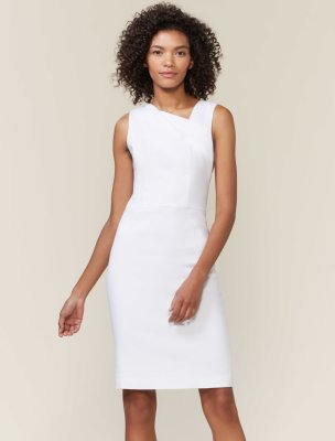 ASYMMETRIC NECKLINE LINEN SHEATH