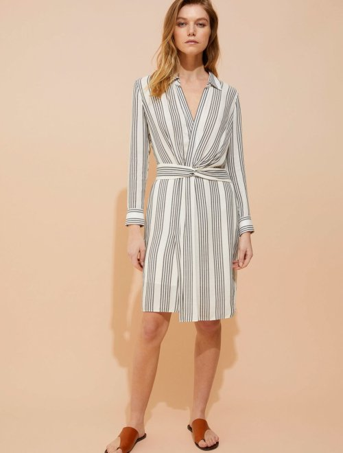 STRIPE GAUZE FAUX WRAP SHIRTDRESS