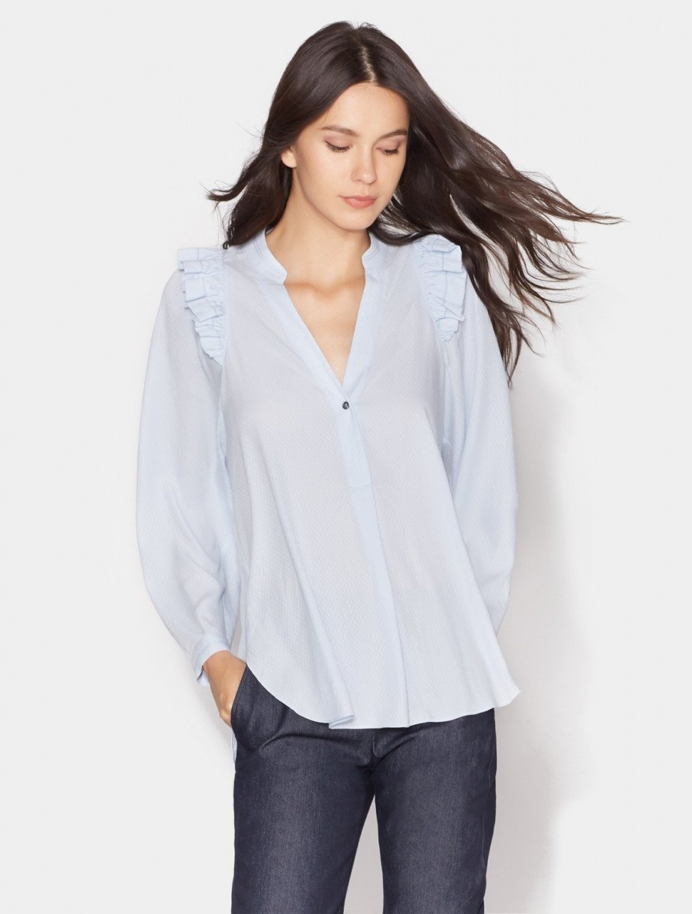 LONG SLEEVE TOP WITH RUFFLE DETAIL
