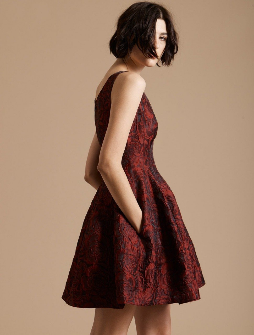 FIT & FLARE FLORAL JACQUARD DRESS