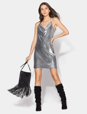 Sleeveless Cowl Neck Velvet Slip Dress