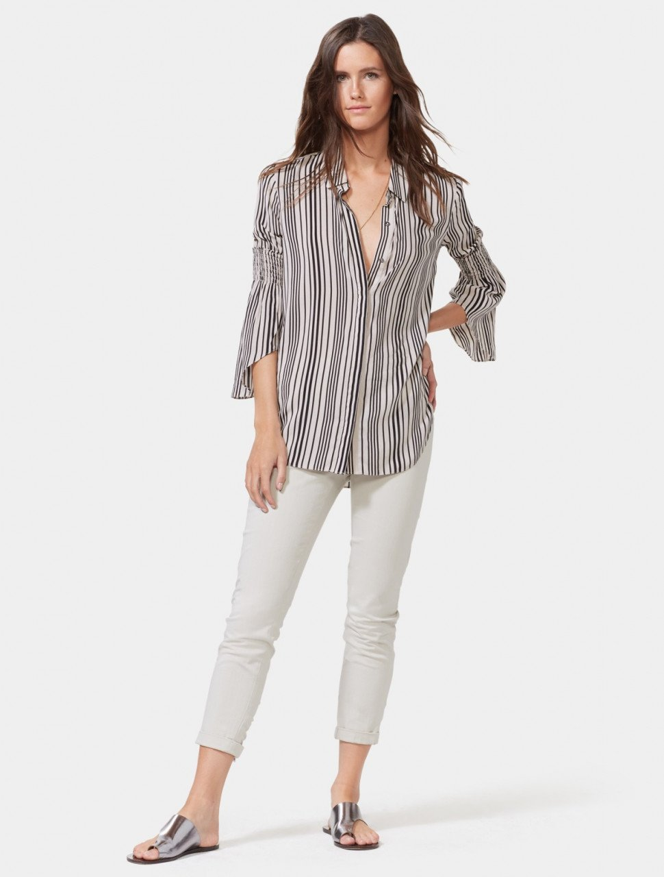 SMOCKED SLEEVE STRIPED SHIRT