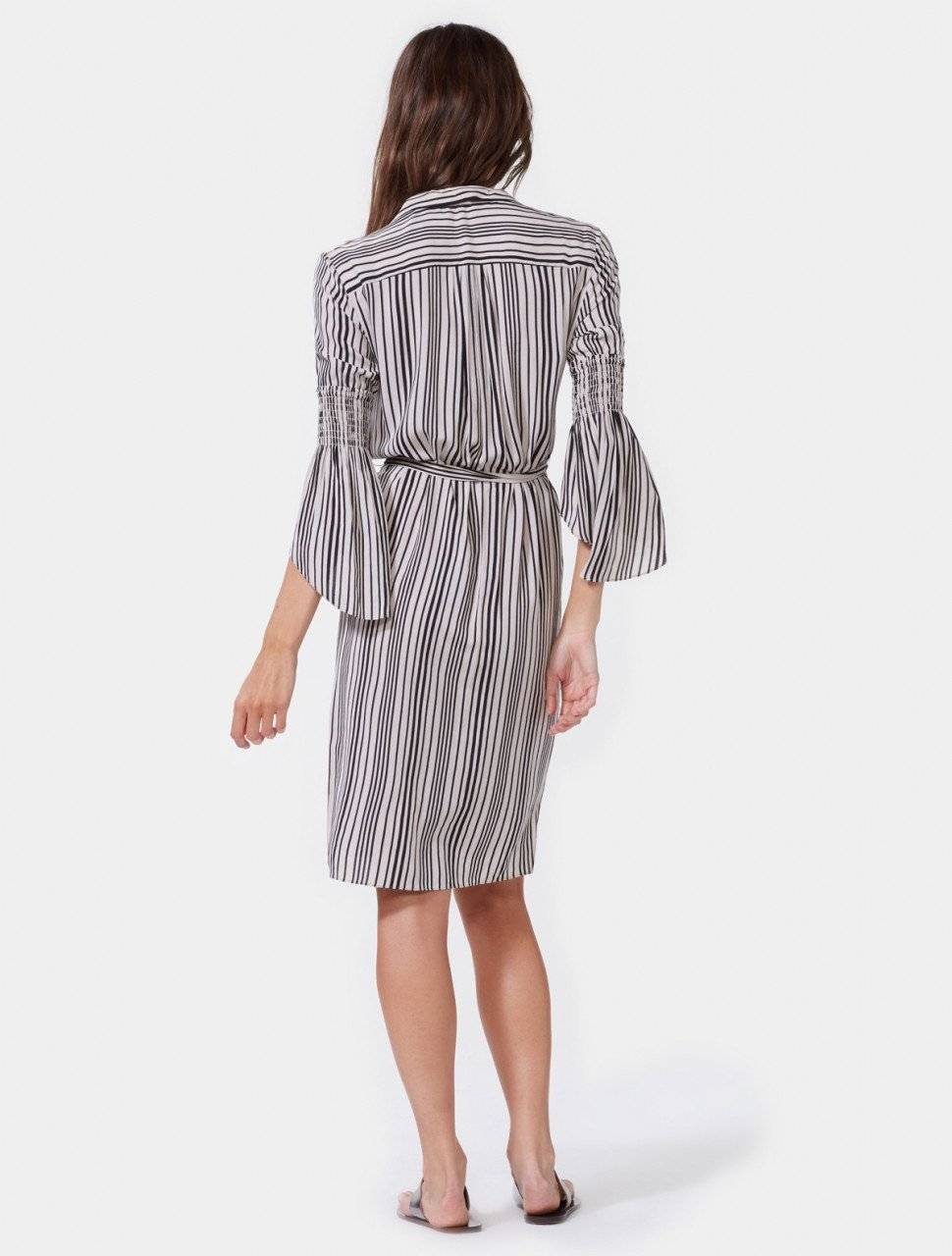 SMOCKED SLEEVE STRIPED SHIRTDRESS