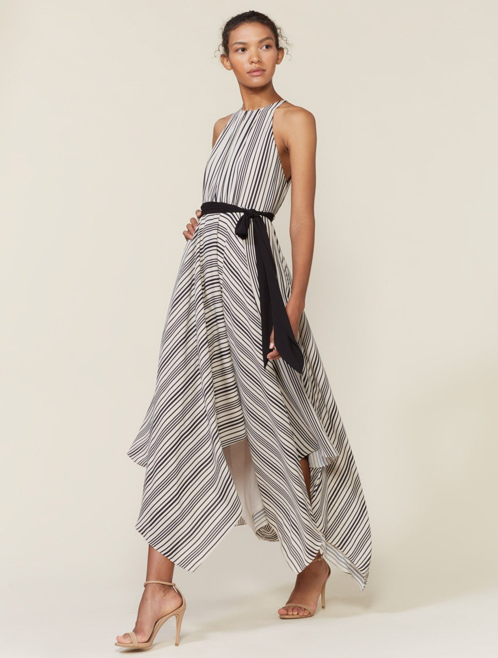 Sleeveless High Neck Stripe Gown with Strip Back