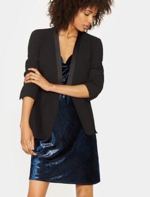 Long Sleeve Slit Cuff Wool Blazer