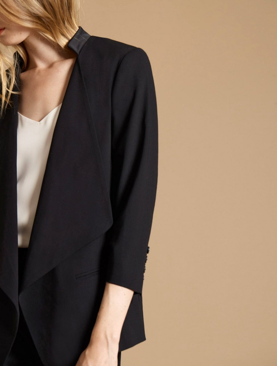 DRAPE FRONT SUITING JACKET