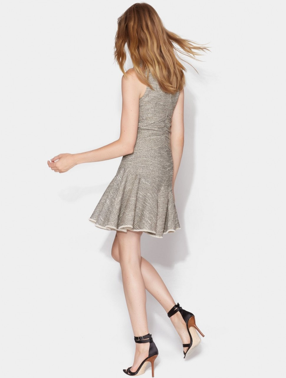 RUCHED DRESS WITH FLOUNCE SKIRT