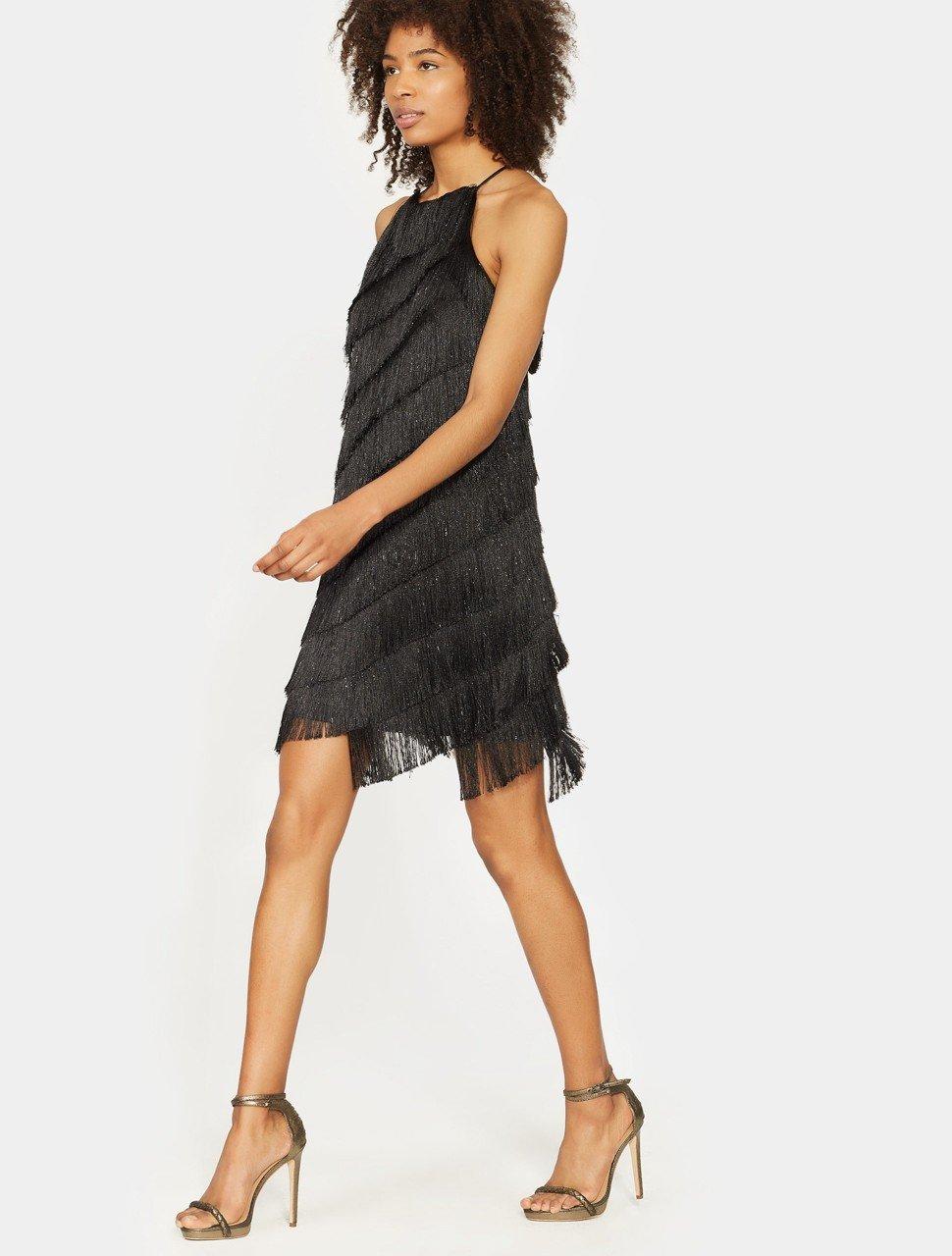 Sleeveless High Neck Fringe Slip Dress