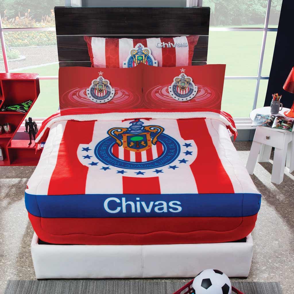 Cobertor Fleece con borrega Club Chivas
