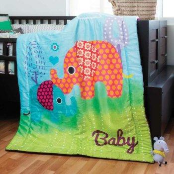Cobertor Cuna  Micromink Con Borrega Elefante