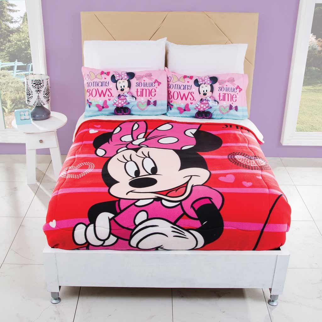 Cobertor Fleece con Borrega Minnie Moda