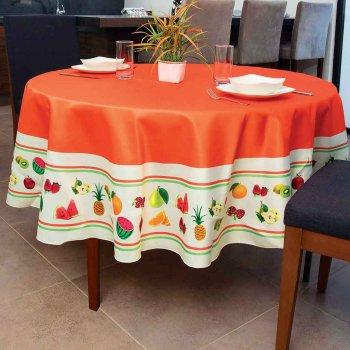 Mantel Redondo Frutas Naranja