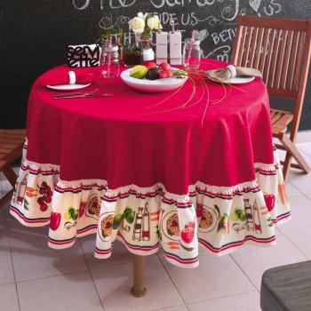 Mantel Redondo Verduras Rojo