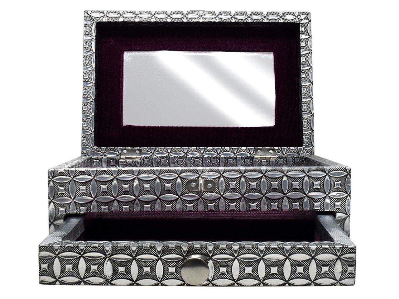Alhajero con un cajón de Metal color Plata Forma Rectangular