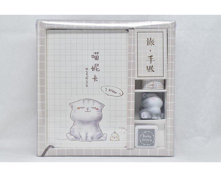 Juego de cuaderno y papelería de Gatito