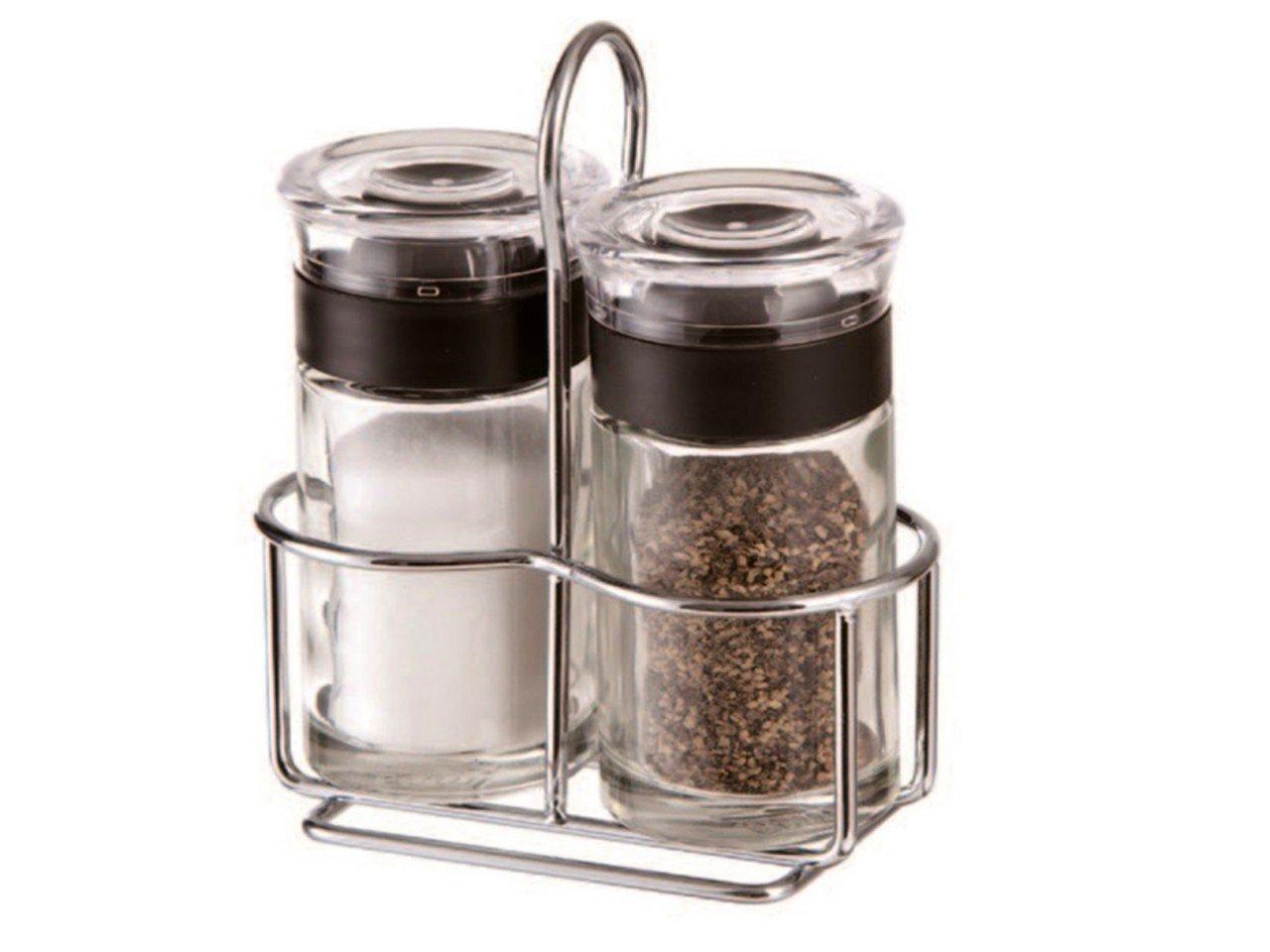Set de Sal y Pimentero con tapa de Plástico y base de Metal