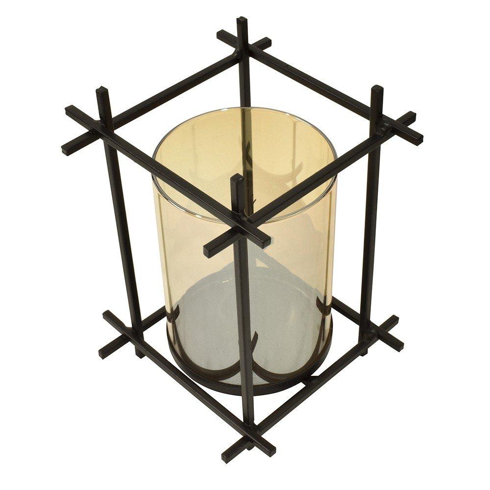 Porta velas con Vaso color Ámbar con base de Alambre color Negro