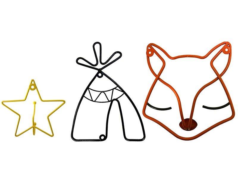 Juego de percheros una Estrella, un Zorro y un Tipi