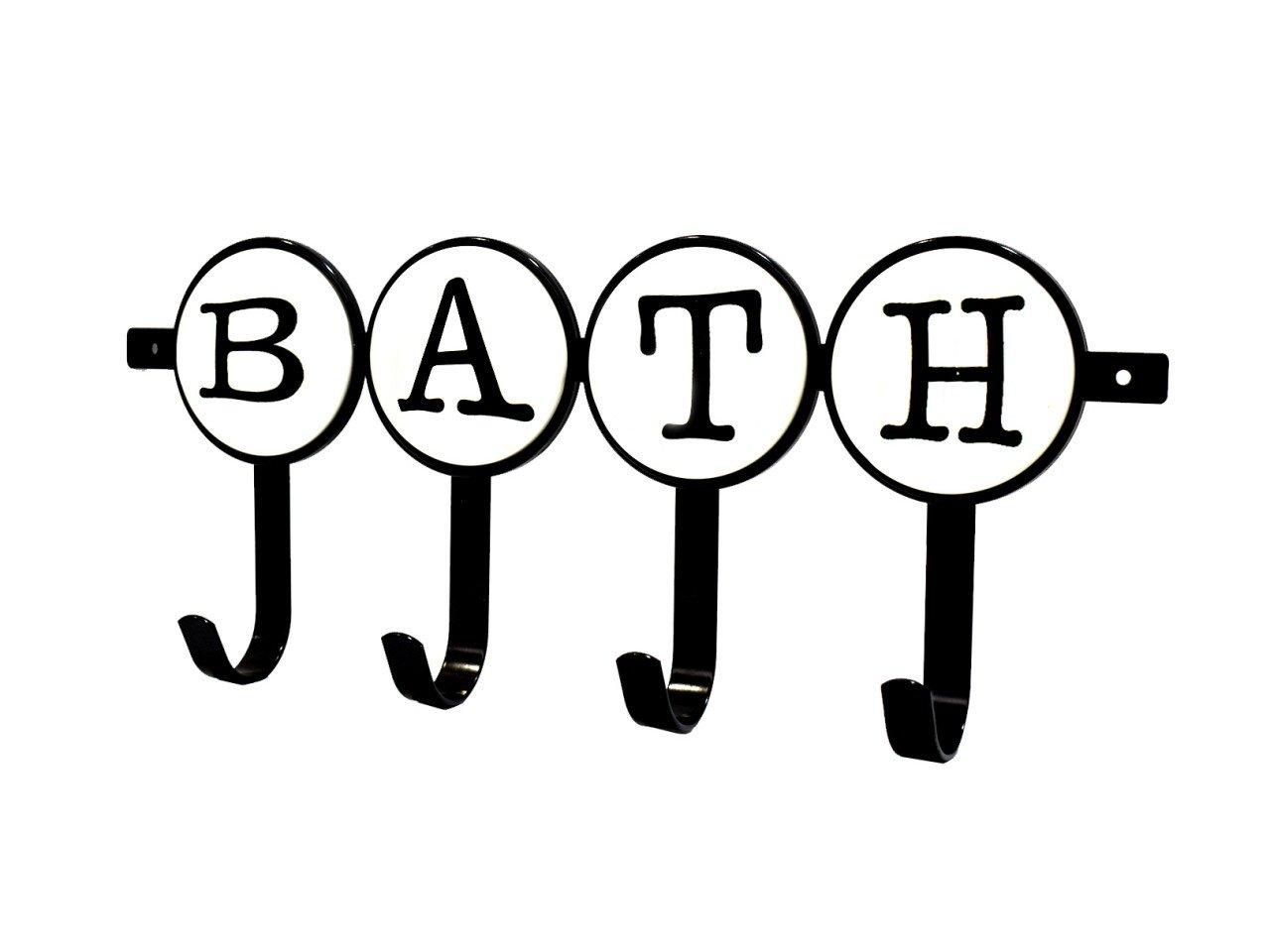 Perchero para Puerta  BATH de metal color Negro/ Blanco