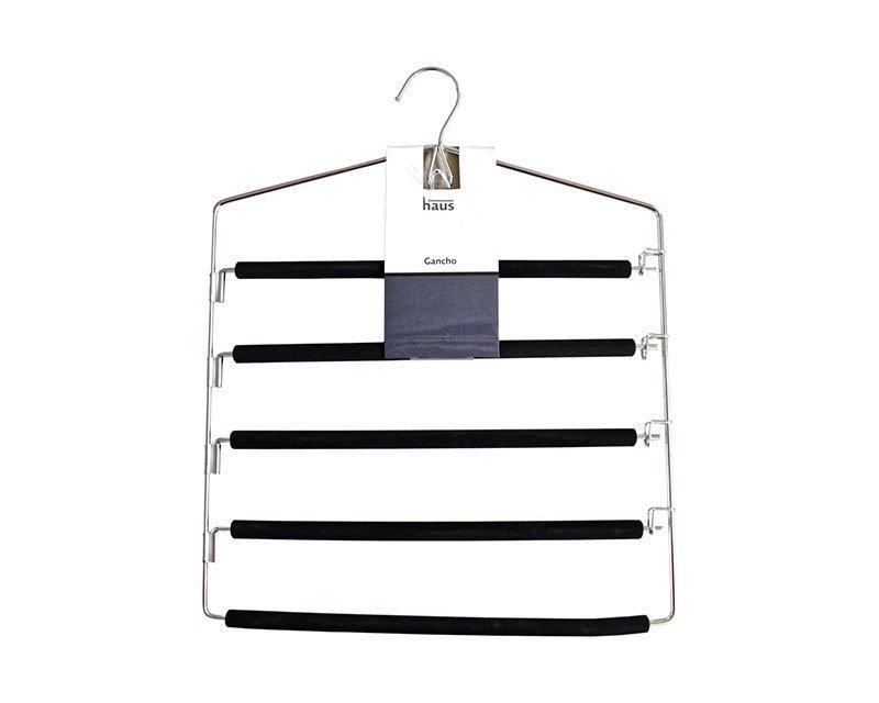 Gancho para 5 Pantalones de Metal forrado de foam Negro
