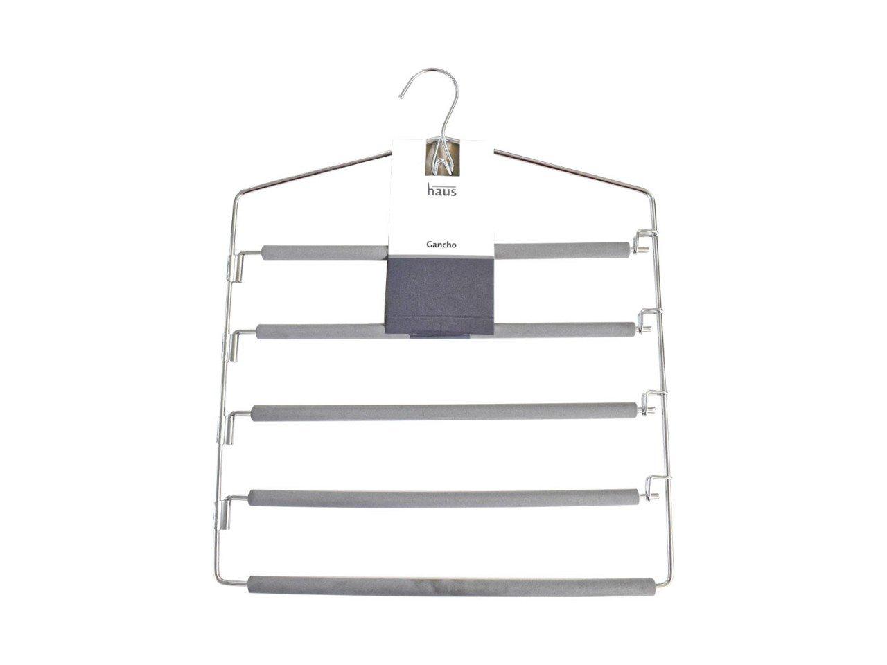 Gancho para 5 Pantalones de Metal forrado de fomi Gris
