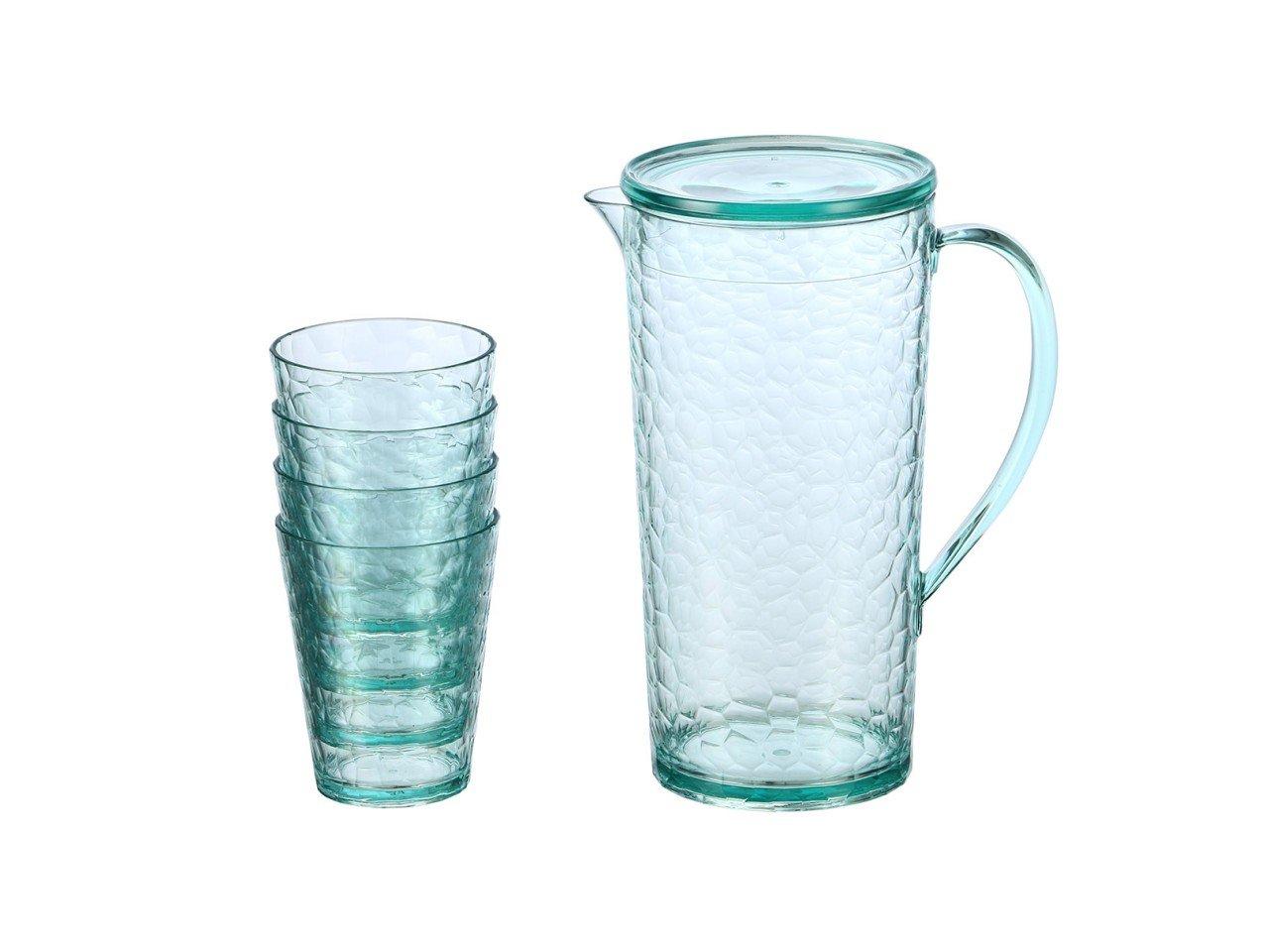 Set de Jarra con cuatro vasos de Acrílico en color Turquesa