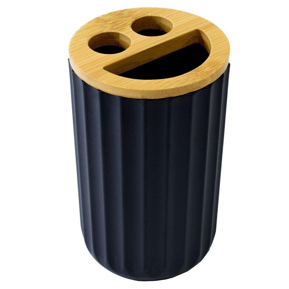 Porta Cepillos de Plástico color negro con aplicacion de Bambú