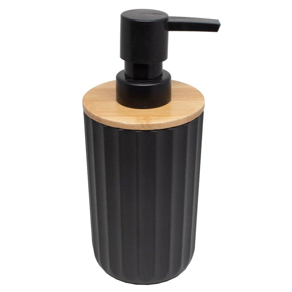 Dispensador de Jabón, articulo de plástico color Negro con aplicación en Bambú