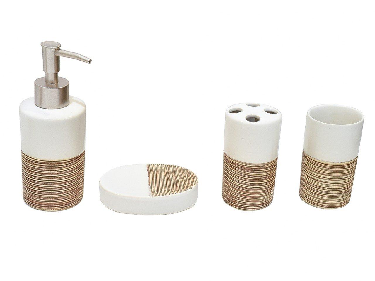 Set de baño de Cerámica Café con blanco