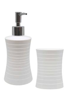 Set de Baño de Plástico con Diseño Curvo color Blanco