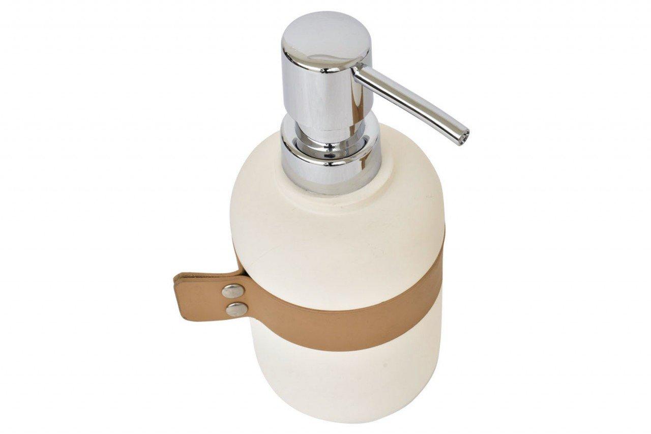 Dispensador de jabón, de cerámica color blanco con aplicación Vini piel color Camel