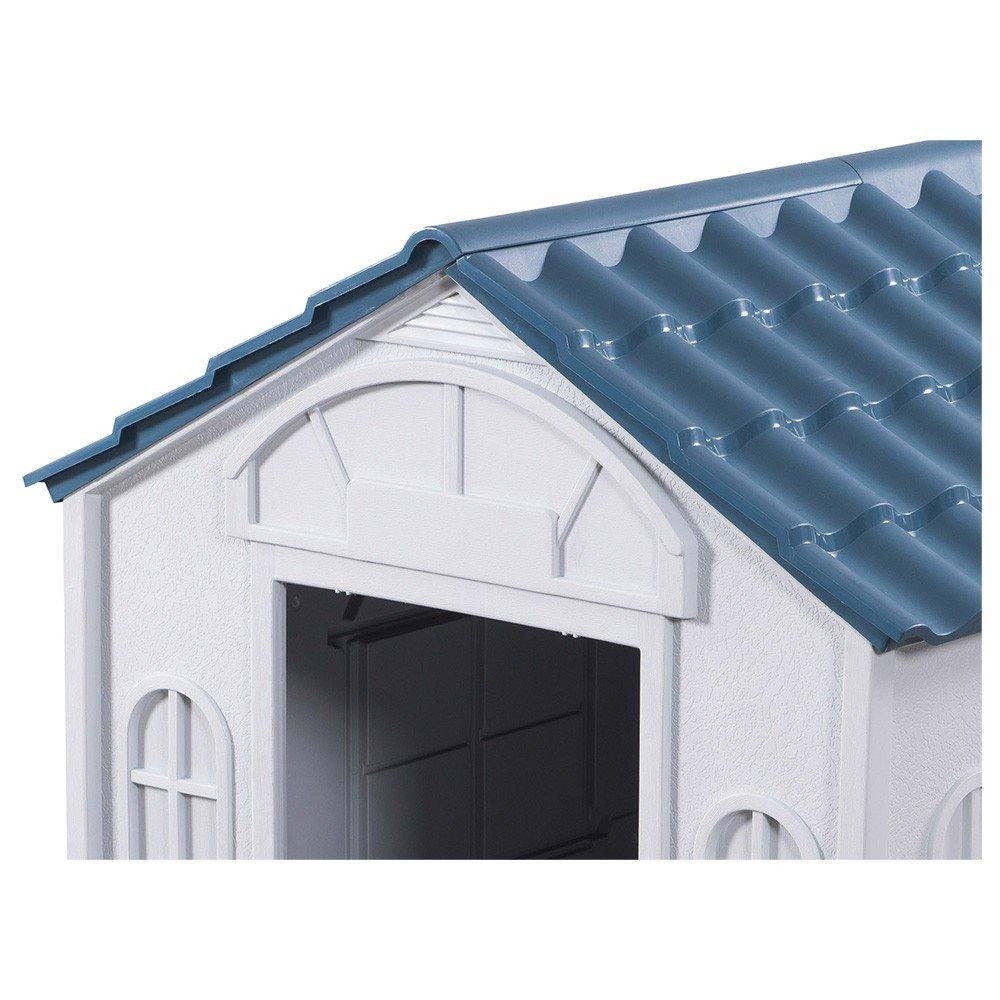 Casa para Perro Grande de Plastico color Blanco con Azul