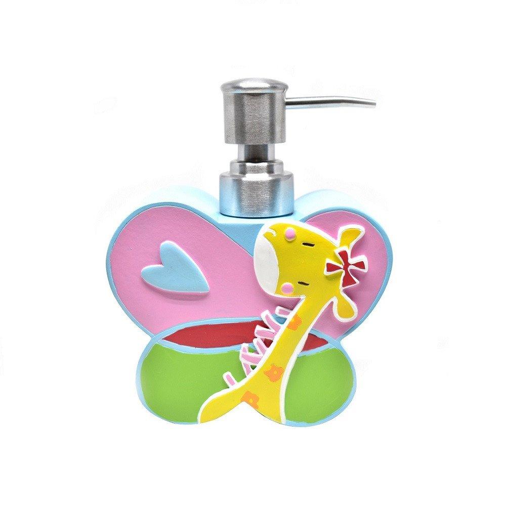 Dosificador de jabón material cerámica  con diseño infantil y figura de Mariposa