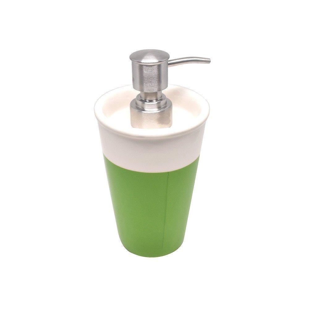 Dosificador para  jabón de cerámica blanco con detalle inferior en color verde