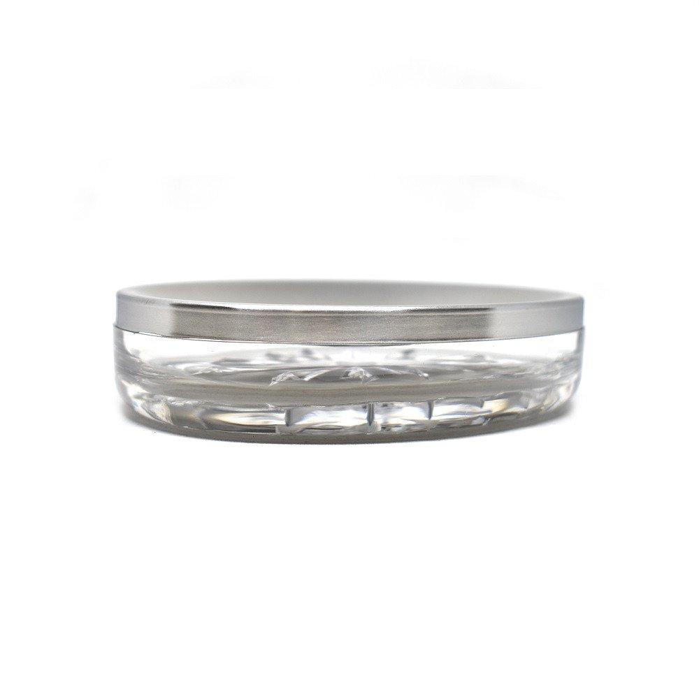 Jabonera transparente metálica prisma
