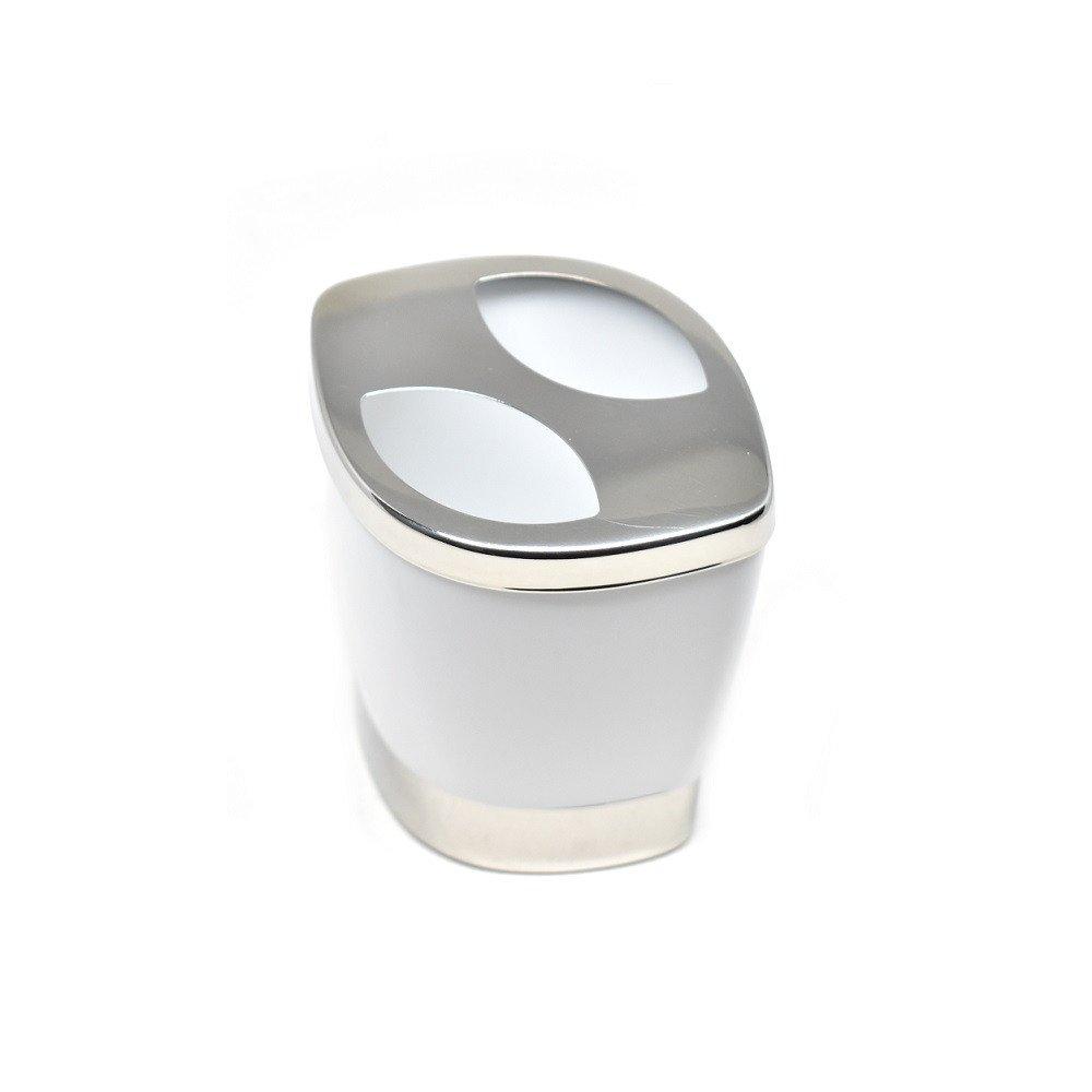 Porta cepillos de dientes curvo color Blanco y tapa de Metal