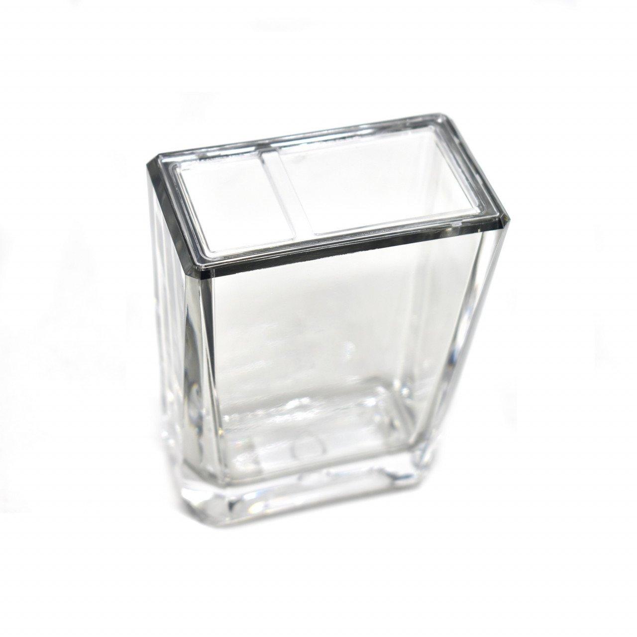 Porta cepillos de vidrio transparente color humo